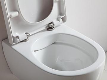 Design Hänge WC Spülrandlos Toilette inkl. WC Sitz mit Softclose Absenkautomatik + abnehmbar kurz -