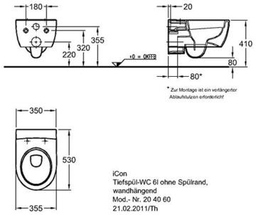 Keramag iCon Wand-WC spülrandlos, weiß, LotusClean Beschichtung, kpl. Set -