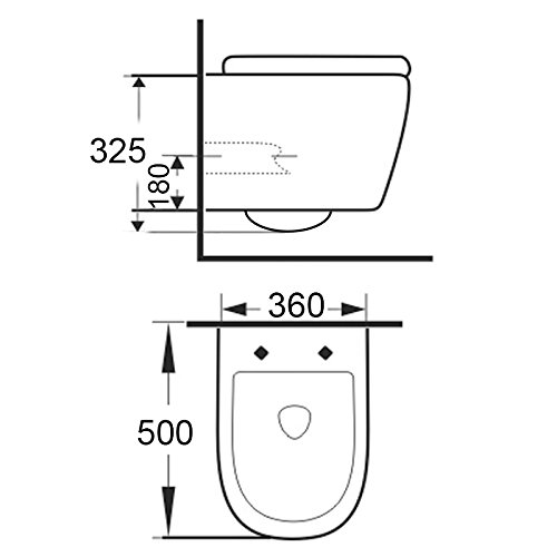 LAVITA KERAMIK HÄNGE-WC-TOILETTE #99870 SPÜLRANDLOS + SOFT-CLOSE SLIM -