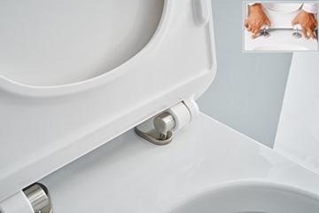 NEG Hänge-WC Uno11 (Tiefspüler) Toilette mit geschlossenem Unterspülrand, Duroplast Soft-Close-Deckel und Nano-Beschichtung -