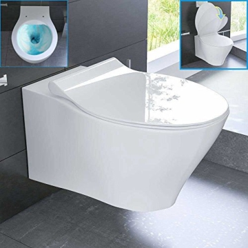 Top Spülrandloses Hänge WC Keramik Toilette ohne Spülrand inkl GX48
