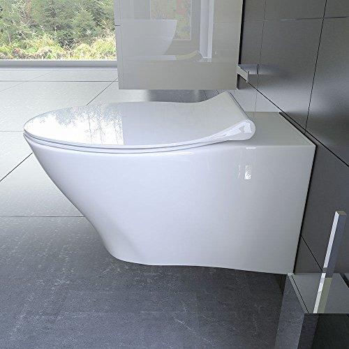 Spülrandloses Hänge WC Keramik Toilette ohne Spülrand inkl. Duroplast WC-Sitz mit Soft-Close / Quick Release Funktion passend zu GEBERIT -