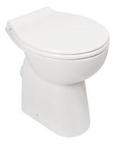 Stand-WC-Set +7 cm | Spülrandlos | Erhöhtes WC | Inklusive WC-Sitz | Für Senioren und große Menschen | Tiefspüler | Abgang waagerecht | Weiß | Spülrandlose Toilette | Spülrandloses WC | Stand-WC | Einfache Reinigung -