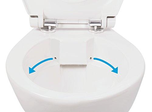 Stand-WC | Spülrandlos | Inklusive WC-Sitz | Tiefspüler | Abgang waagerecht | Weiß | Toilette | Spülrandloses WC | Klo | Toilettensitz | Stand-Wc | Design | Keramik | Modern | Hygiene -
